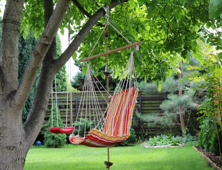red chair: Color hammock and red swing hanging on the tree  Stock Photo