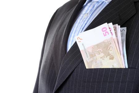 Euro money in businessmans  pocket , isolated photo