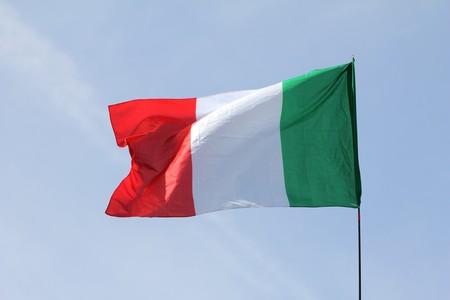 eu flag: Full italian fluttering flag on sky
