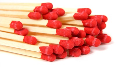 Red matches- close up on white background Stock Photo - 7905381