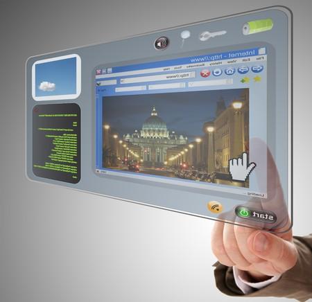 Main avec les futur Comprimé visuel Banque d'images
