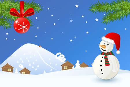 Winter time christmas landscape with snowman photo