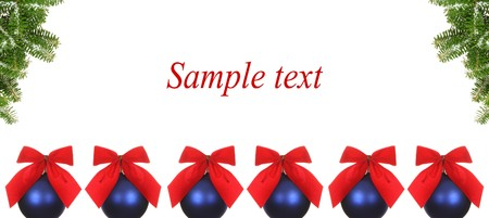 Blue balls with red bow on christmas background photo