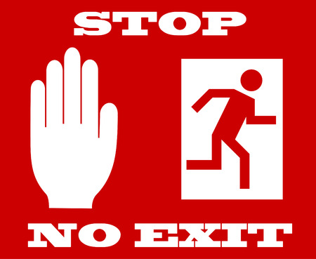 emergency exit icon:  illustration of stop signal, no exit