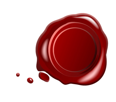 seal wax: Red wax seal with small drops