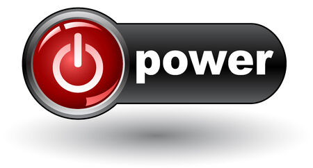 power on (on) - web button, Stock Vector - 8154977