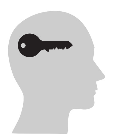 invent: concept of head with key, open mind