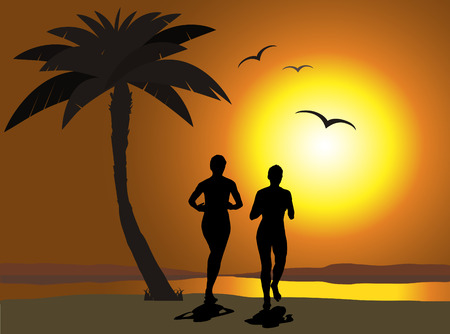 Jogging on the beach Vector