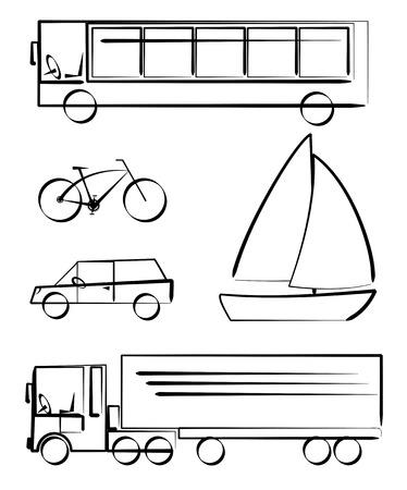 Simple vetcor drawings of transportation vehicles Vector