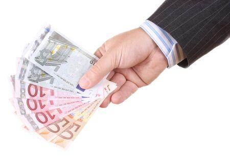Euros money in man hand photo