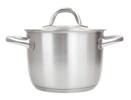 steel pan: acero inoxidable bote aislado en fondo blanco