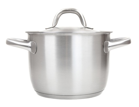 stew pot: stainless pot isolated on white background Stock Photo