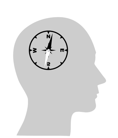 compass of the human mind, Isolated over background Vector