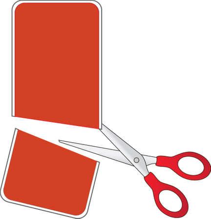 price cutting: Scissors cutting red price tag, in half Illustration