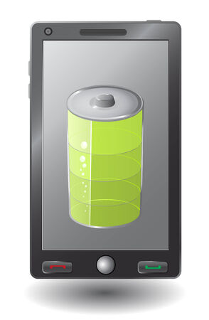 Simple smart phone with battery symbol Vector