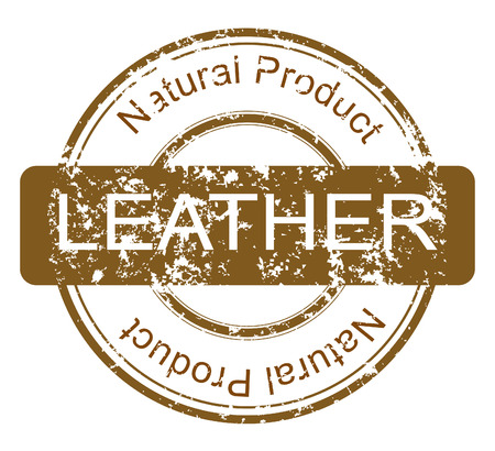 Grunge stamp with natural leather product Vector