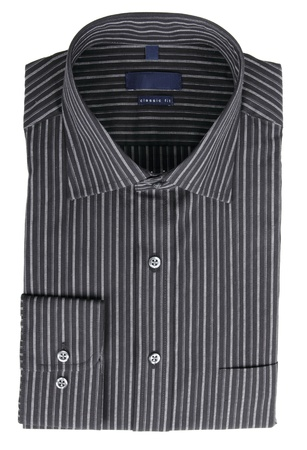 habiliment:  A new black pinstriped dress shirt isolated
