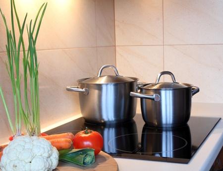 Pots in kitchen photo