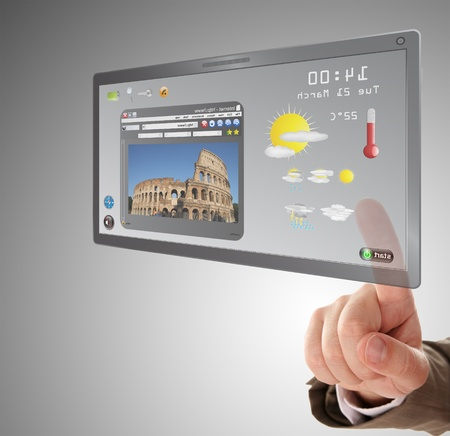 searching a information on touchscreen tablet Stock Photo - 9496798