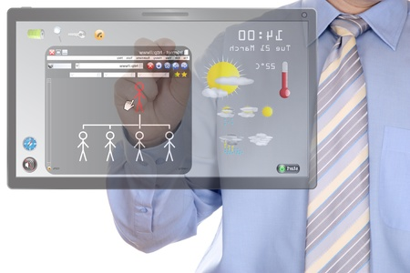 drawing social network on touchscreen tablet Stock Photo - 9496804