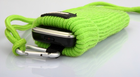 mobile accessories: mobile phone in sack  Stock Photo