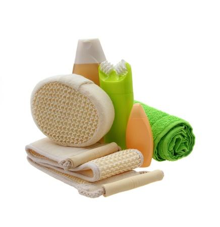 utiles de aseo personal: Accesorios de ba�o aislados en blanco Foto de archivo
