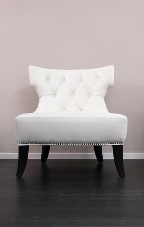 One white leather comfortable armchair photo