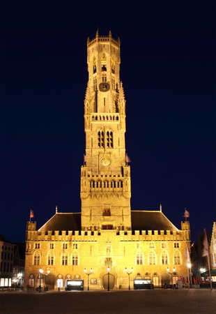 old town of bruges, belgium, by night photo