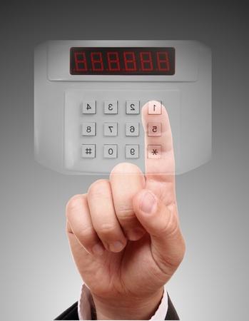 Man het invoeren van de deur of het veilige, beveiligde gegevens door touch screen