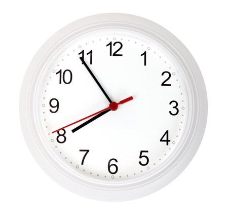 beat the clock: White simple clock, isolated on white background