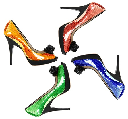 sequin: Woman shoes with color sequin, isolated on the white background
