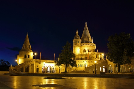 Fishermen Bastion by night in Budapest