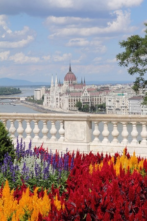 Sightseeing in Hungary, The Hungarian Parliament , idyllic view from Castle, summer  photo