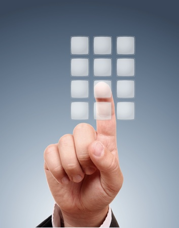 banking problems: male hand on transparent buttons Stock Photo