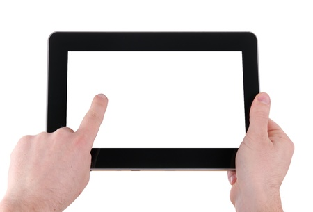 man hands with touch pad on white background photo