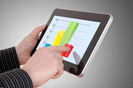 businessman working on financial graph on tablet photo