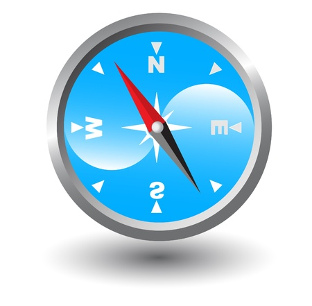 Compass with blue background inside Vector