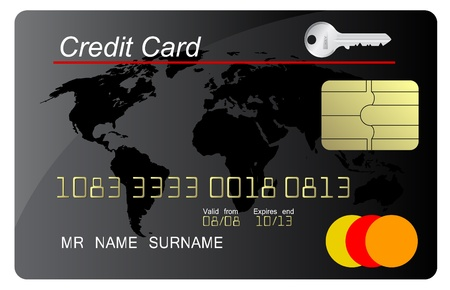 debit: Black credit card vector with security key Illustration