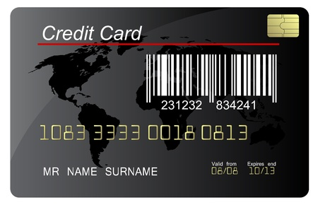 credit card purchase: Black credit card vector with bar code , highly detailed