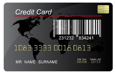 tarjeta de credito: Vector negro tarjeta de cr�dito con c�digo de barras, muy detallado