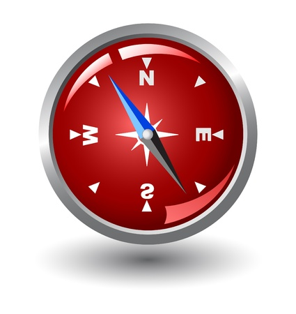 orientate: vector compass with red background inside