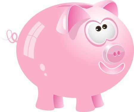 Pink piggy bank, vector Illustration