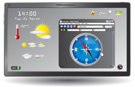 day forecast: Weather forecast page on touchscreen tablet ,vector