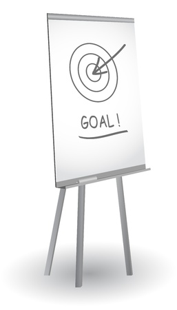 Flip chart with target, arrow and word Goal, vector Stock Vector - 10886708