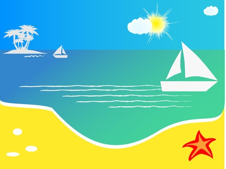 vector background with sailboat floating on sea Vector