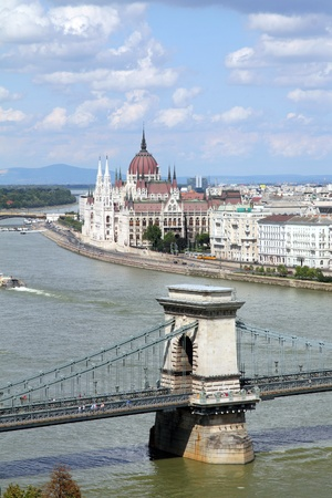 Hungary, Chain Bridge and Danube river and Parliament in Budapest  photo