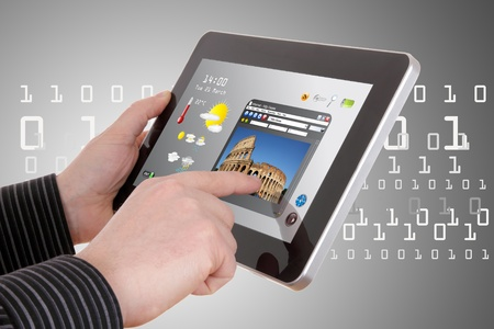 travel computing concept - using cloud services on tablet photo
