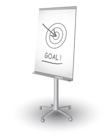 boardroom meeting:  Flip chart with target, arrow and word Goal, vector