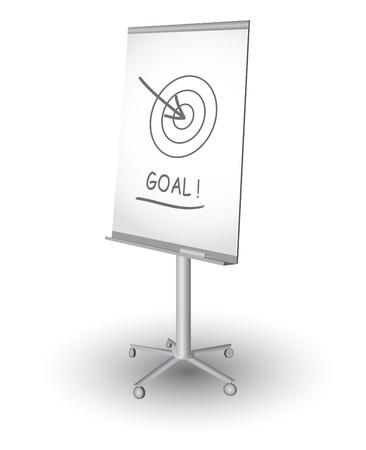 flipchart:  Flip chart with target, arrow and word Goal, vector