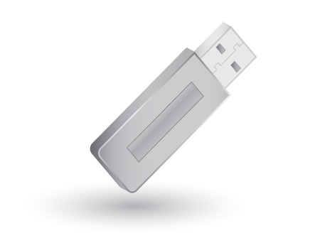 Usb Pendrive with shadow on white background, vector illustration Vector